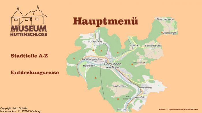 Auszug aus den Informationsterminals: Menü Stadtteile