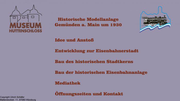 Auszug aus den Informationsterminals: Menü Modelleisenbahn