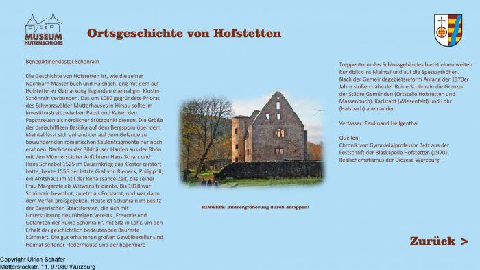 Auszug aus den Informationsterminals: Ortsgeschichte Hofstetten