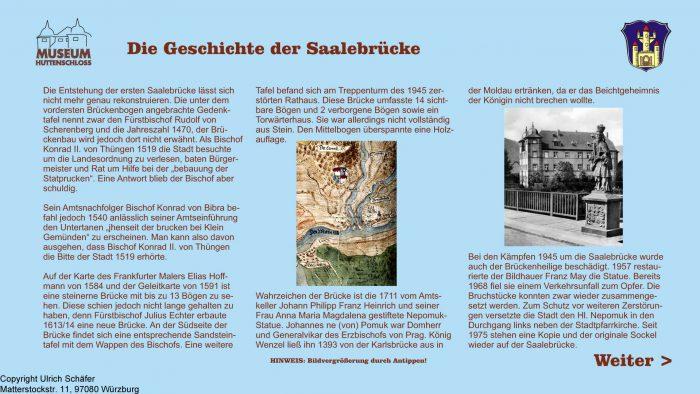 Auszug aus den Informationsterminals: Die Geschichte der Saalebrücke
