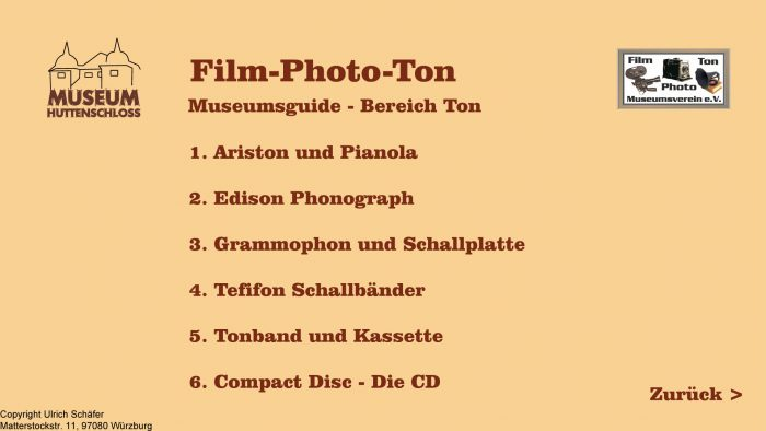 Auszug aus den Informationsterminals: Menü Film-Photo-Ton Museum