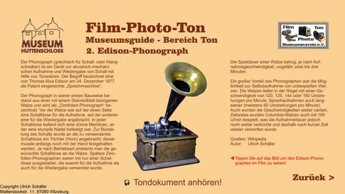Auszug aus den Informationsterminals: Edison Phonograph